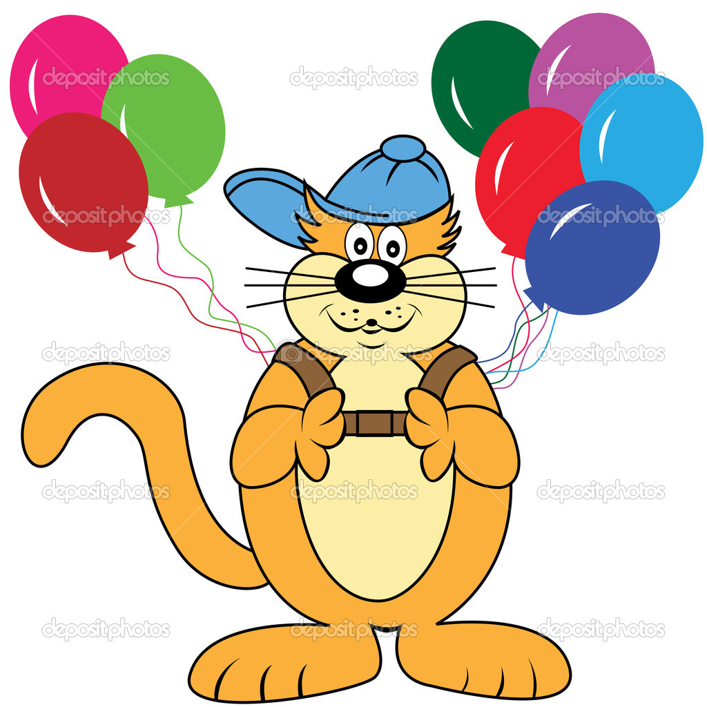 Cute cartoon cat character with a backpack of balloons wearing his blue baseball cap. Isolated on a white background — Stock Vector #2304306