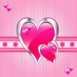 Pink hearts, valentine or mothers day — Imagen vectorial