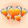 Orange hearts, valentine or mothers day — Stock Vector #2329652