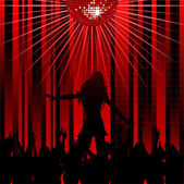 Abstract red background and dancer — Stock Vector