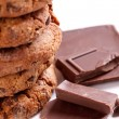 Chocolate cookies with chocolate — Stock Photo