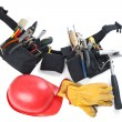 Tools belt , helmet and leather glove — Stock Photo