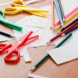 Stock Photo: Colourful scissors and crayons