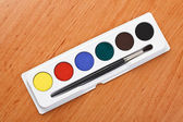 Watercolor paint and brush — Stock Photo