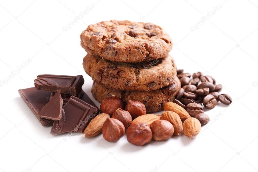 Chocolate cookies with chocolate on white background  Stock Photo #2223011