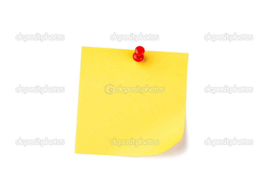 Photo shot of yellow note paper with red pin — Stock Photo #2227634