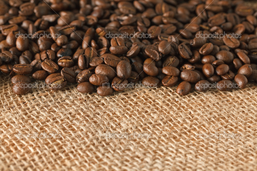 Photo shot of coffee beans on jute  Stock Photo #2228406