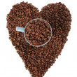 Coffe beans background with heart — Stock Photo
