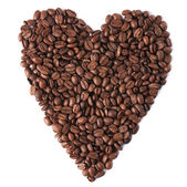 Heart with coffee beans — Stock Photo