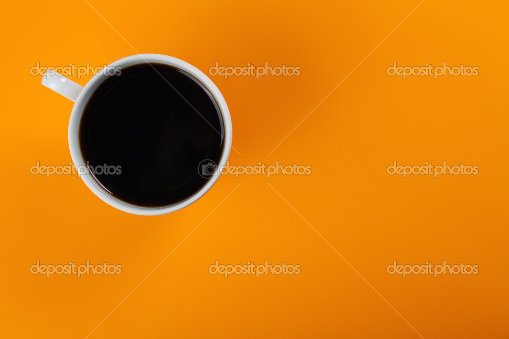 Top view of coffee cup on color background — Stock Photo #2264627