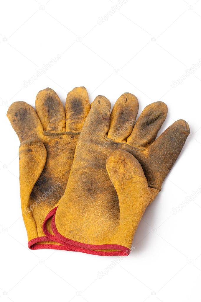 The used leather workgloves on white background — Stock Photo #2265218