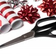 Gift wrap and scissors — Stock Photo