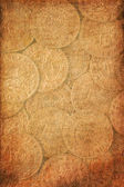 Vintage background with antique coins — Stock Photo