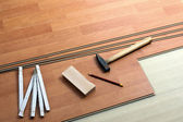 Wood flooring and tools — Stok fotoğraf