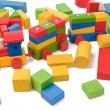 Colorful toy train and toy blocks - Stock Photo