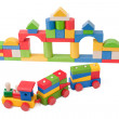 Stock Photo: Colorful toy train and toy blocks