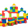 Colorful toy train and toy blocks — Stock Photo