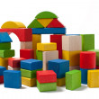 City of colorful wooden toy blocks - Stockfoto
