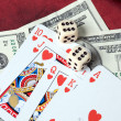 Poker cards and dollars — Stock Photo