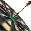 Red dart on bullseye - Foto Stock
