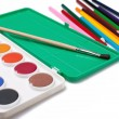 Water-color,paintbrush and color pencils — Stock Photo #2283289