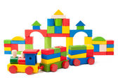 Colorful toy train and toy blocks — Zdjęcie stockowe