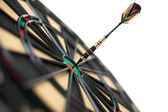 Red dart on bullseye — Stock Photo