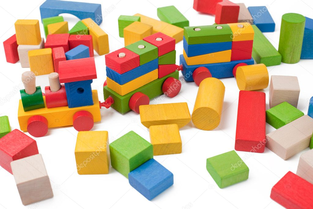Colorful toy train and toy blocks isolated on white background  Stock Photo #2280880