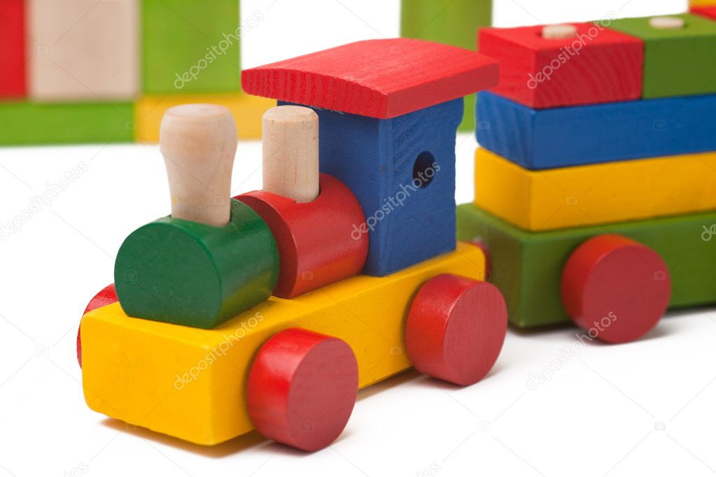 Colorful toy train isolated on white background — Stock Photo #2280999