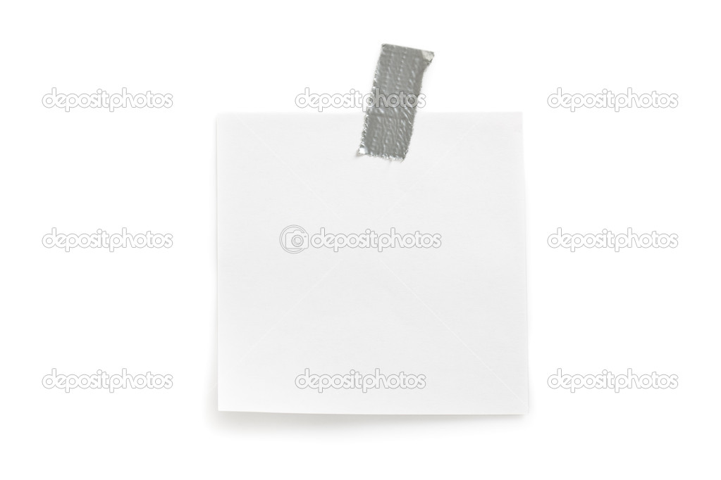 Note paper sticked on white background  Stock Photo #2434789