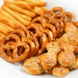 Salty snacks - Foto de Stock