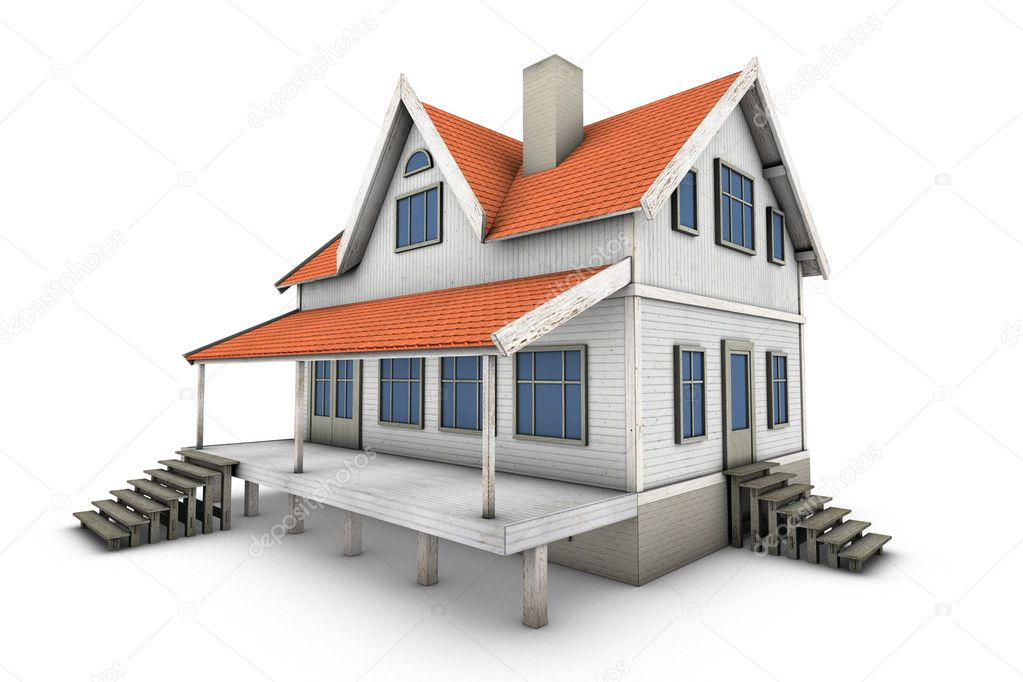 New private family house. 3d illustration, isolated on white background — Stock Photo #2227445