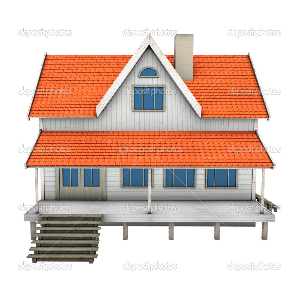 New private family house. 3d illustration, isolated on white background — Stok fotoğraf #2227466