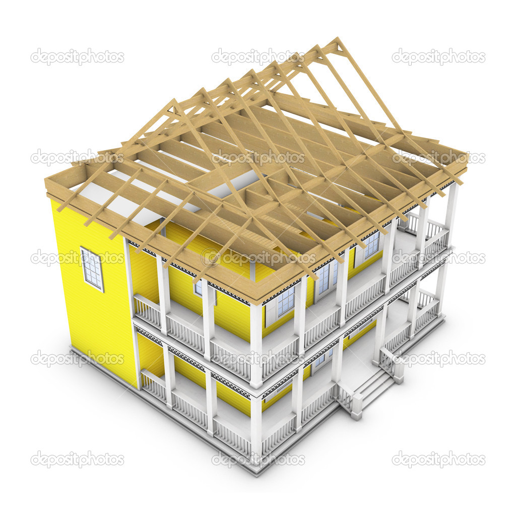 3D rendering of a house in the process of roof construction — Stock Photo #2433084