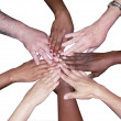 Diverse team stacked hands - Stock Photo