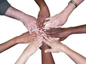 Diverse team stacked hands — Stock Photo