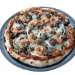 Pizza - shrimp and sausage isolated — Stock Photo