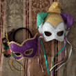 Carnival masks on fabric 3 — Stock Photo