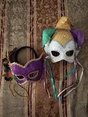 Carnival masks on fabric 3 — Stock Photo