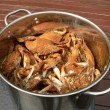 Stock Photo: Crab - cooked blue crabs