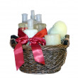 Bath accessories gift basket — Stock Photo