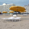 Stock Photo: Umbrellas and lounge chairs at VBeach