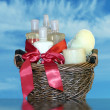 Bath accessories gift basket 2 — Stock Photo