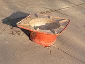 Construction cone filling pothole in sidewalk 2 — Stock Photo
