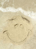 Beach - smily face in the sand 2 — Stock Photo