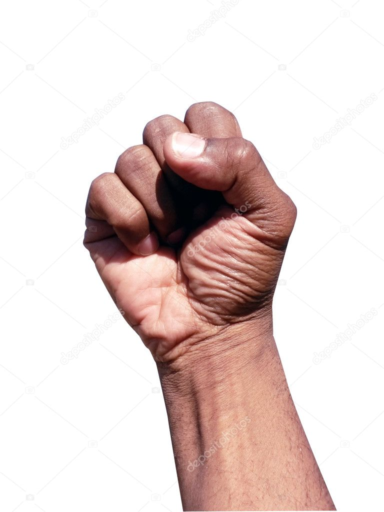 Fist in hand gesture
