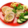 Stuffed turkey meat on red plate — Stock Photo #2188878