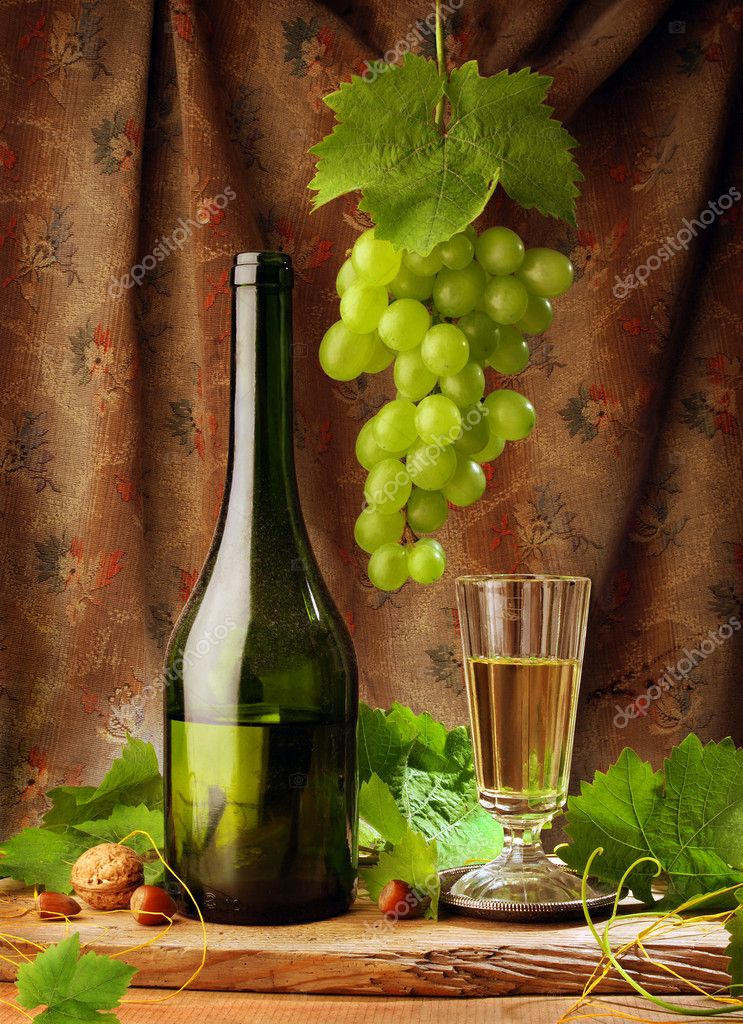Composition of white wine in vintage style  Stock Photo #2188770