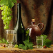 Vintage still life of white wine — Stock Photo