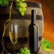 Stock Photo: White wine and old barrel